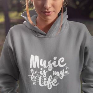 Music is my life unisex charcoal Hoodie